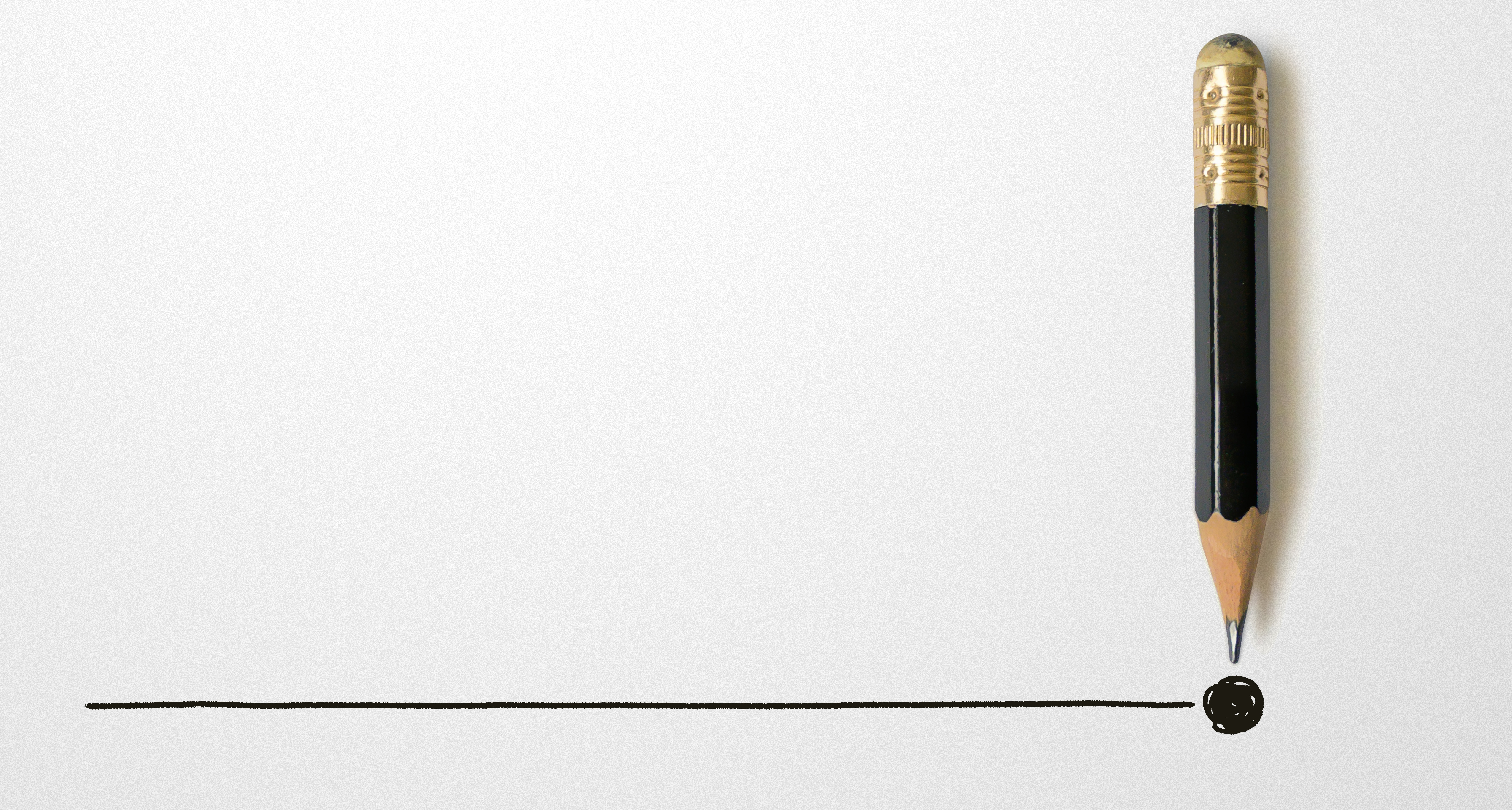 A pencil-drawn line is punctuated with a period.